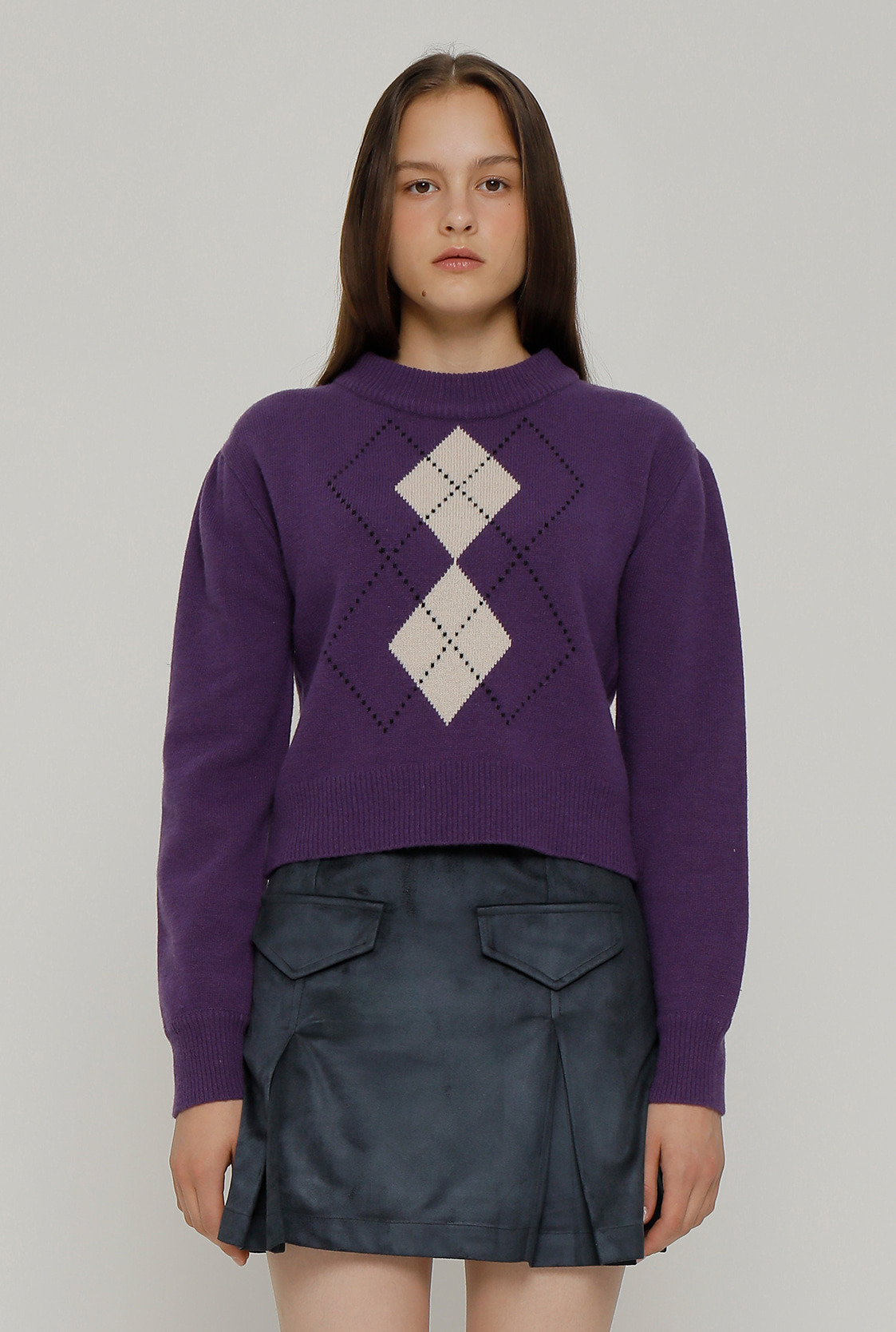 R PUFF SLEEVE ARGYLE KNIT TOP_PURPLE