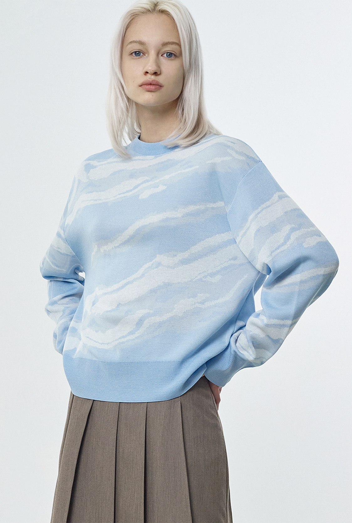 R MARBLE KNIT TOP [2colors]